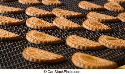 Cookie is baked in the oven. Close-up. - Production line of...