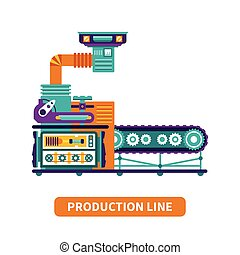 Production line vector concept in flat style