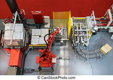production line with automatic conveyor belt, industry track.