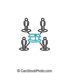 Production line workers linear icon concept. Production line workers line vector sign, symbol, illustration.