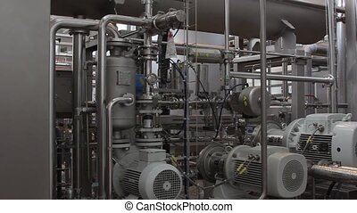 Production machine in a factory producing lemonade