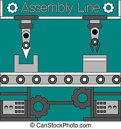 Assembly line poster - Production machinery. Assembly line...
