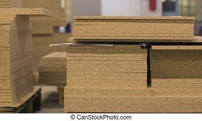 chipboards storing at furniture factory - production,...