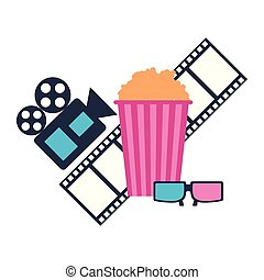 production movie film popcorn projector 3d glasses