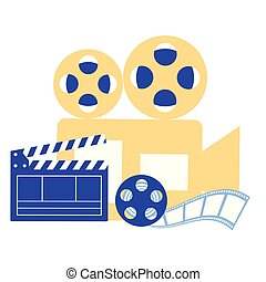 production movie film projector reel clapperboard