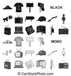 Production of advertising black icons in set collection for design. Advertising equipment bitmap symbol stock web illustration.