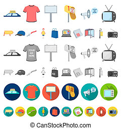 Production of advertising cartoon icons in set collection for design. Advertising equipment bitmap symbol stock web illustration.