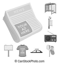 Production of advertising monochrome icons in set collection for design. Advertising equipment bitmap symbol stock web illustration.