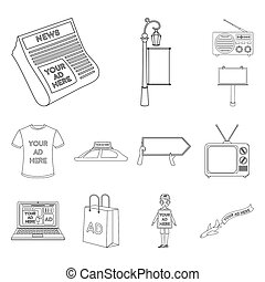 Production of advertising outline icons in set collection for design. Advertising equipment bitmap symbol stock web illustration.