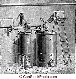 Production of Aniline, vintage engraving