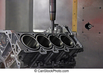 Production of automotive engine - CNC-milling center...