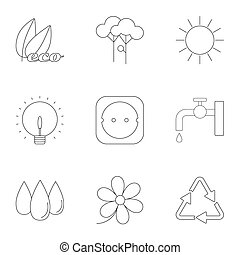 Production of energy icons set, outline style