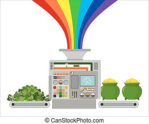 Production of gold leprechaun. Automatic line for fabulous industry. Production of treasures for St. Patrick's day. Clover, trefoil in production machine. Rainbow Magic feature gold coins in pot