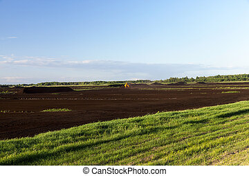 industrial field, which collects and peat processing. Photo of scenery. Peat black gathered in large piles. Blue sky in the background
