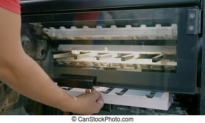 Production of printing edition in the printing house, close...