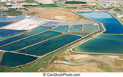 Production of sea salt in the Algarve region, Portugal.