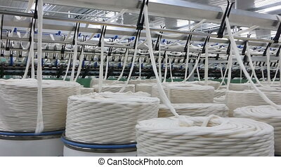 production of threads in a textile factory