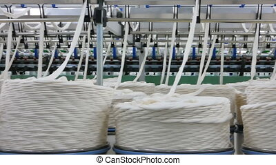 production of threads in a textile factory - Machinery and...