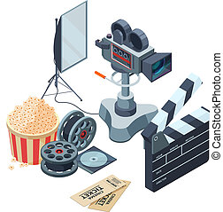 Production of video. Vector isometric concept of video and photo production