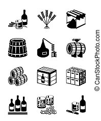 Production of whiskey and brandy - vector illustration
