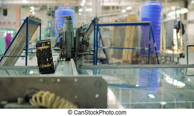 Production of window glass of manufacturing machine. 4K