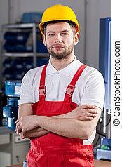production, ouvrier, dans, usine