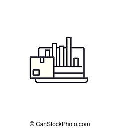 Production performance linear icon concept. Production performance line vector sign, symbol, illustration.