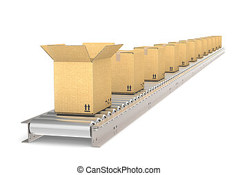Perspective view of a Conveyor Belt of steel with boxes. Front box open. Part of warehouse and logistics series.