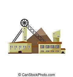 Production plant icon, cartoon style