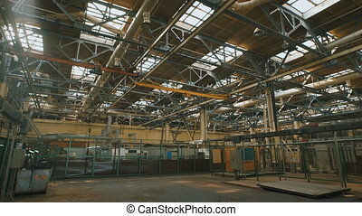 Production premise with a high ceiling and a large number of...