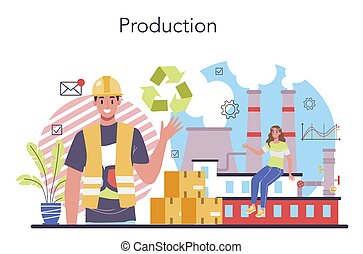 Production process concept. Entrepreneurship organization. Idea of business