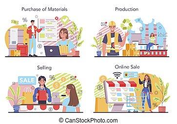 Production process concept set. Entrepreneurship organization. Idea of business