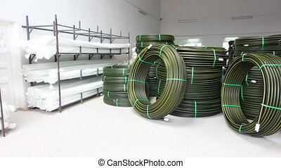 Production process of plastic pipes at the plant