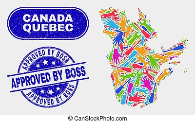 Production Quebec Province Map and Grunge Approved by Boss Stamps