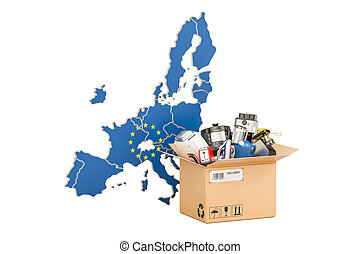 Production, shopping and delivery of household appliances from EU concept, 3D rendering