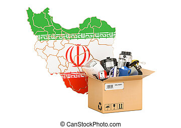 Production, shopping and delivery of household appliances from Iran concept, 3D rendering