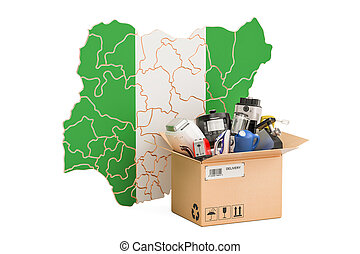 Production, shopping and delivery of household appliances from Nigeria concept, 3D rendering