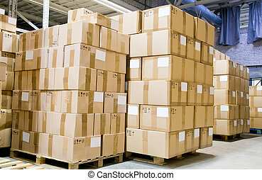production store warehouse - rack stack arrangement of...