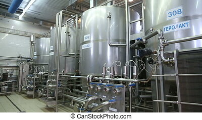 Huge tanks for storing and fermenting milk - Production...