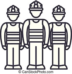 Production team line icon concept. Production team vector linear illustration, symbol, sign