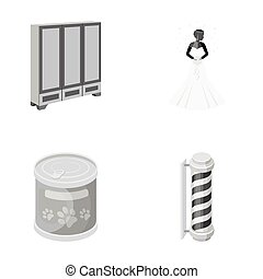 production, textiles, entertainment and other monochrome icon in cartoon style., pen, color, business icons in set collection.