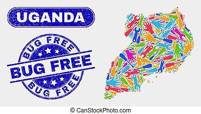 Production Uganda Map and Grunge Bug Free Watermarks