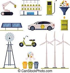 production, vecteur, collection, énergie, agriculture, écologique, alternative, transport, organique, technologies, plat, illustration, eco, amical