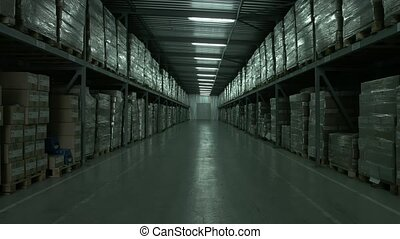 Production warehouse in an industrial plant