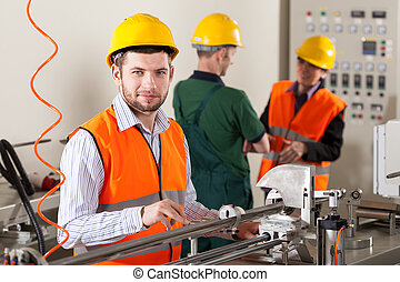 Production workers during production process