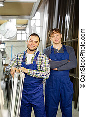 Production workers in coverall