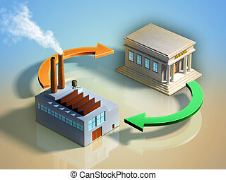Productive investment - Financial streams between a bank and...