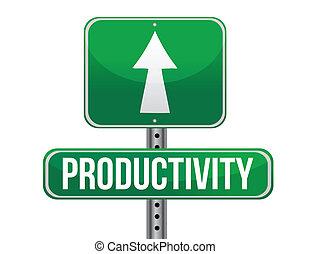 productividad, camino, ilustración, señal