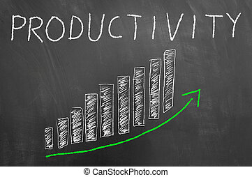 Productivity bars arrow up graphic on blackboard