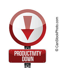 productivity down sign illustration design over a white ...